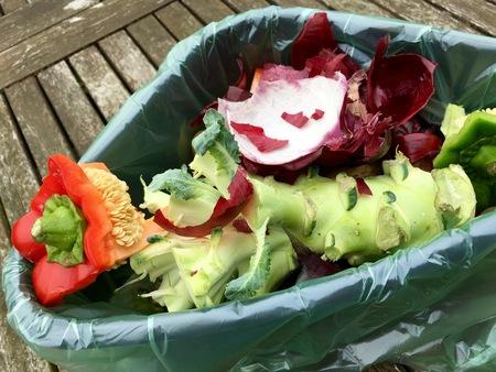 desechos organicos: residuos orgánicos frescos en un cubo de plástico sobre una mesa de madera Foto de archivo