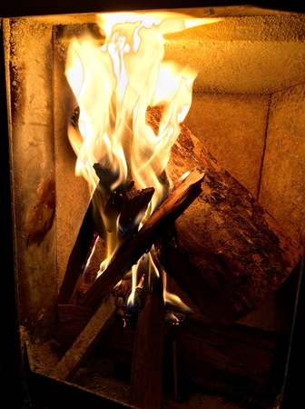 fireplace home: Fireplace in home with a big burning pieces of wood