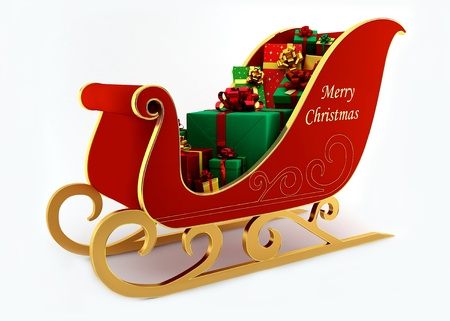 inscribed: Christmas sleigh with presents on a white background Stock Photo