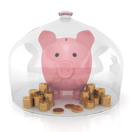 Piggy bank and money under the glass cap on a white background