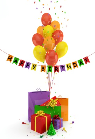 fife: Colorful gifts and balloons on a white background Stock Photo