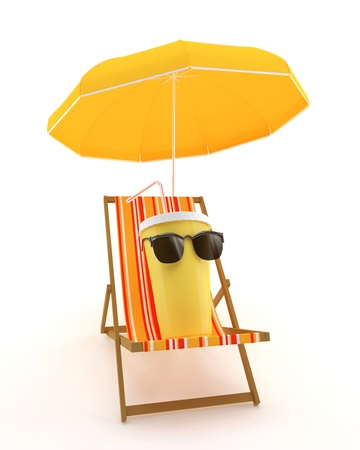 Plastic cup for drinks on a deck chair under an umbrella on a white background