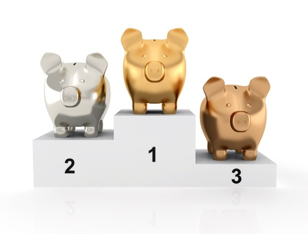 Gold, silver, bronze Piggy bank on the podium