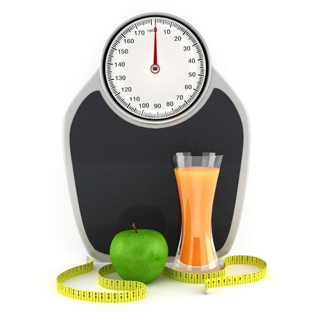 Scales, juice, apple and measuring tape - a symbol of a healthy lifestyle
