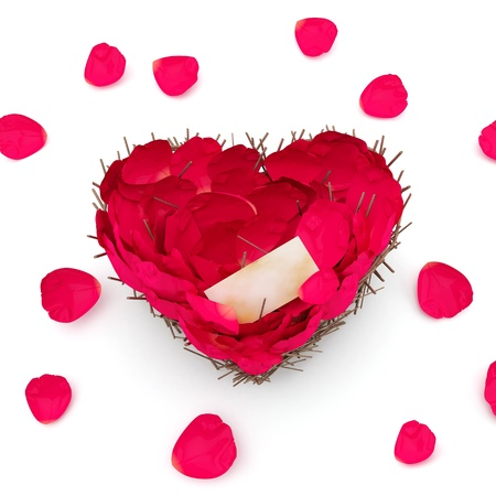 Nest in the form of heart with petals of roses.