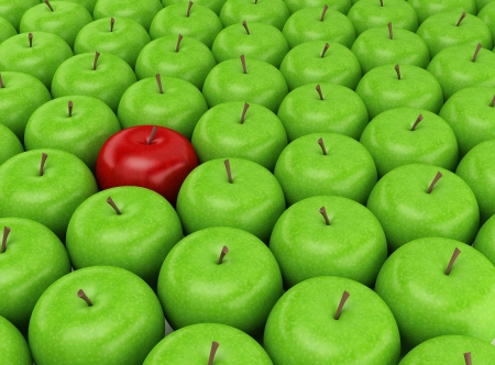 one to one: One red apple selected on the background of green apples