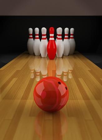 bowling: Bowling con un bolo rojo en el centro