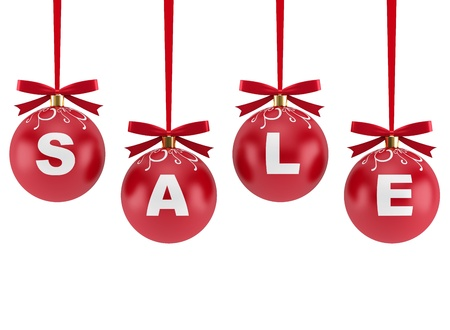 winter sales: Christmas decorations with the word Sale isolated on white background Stock Photo