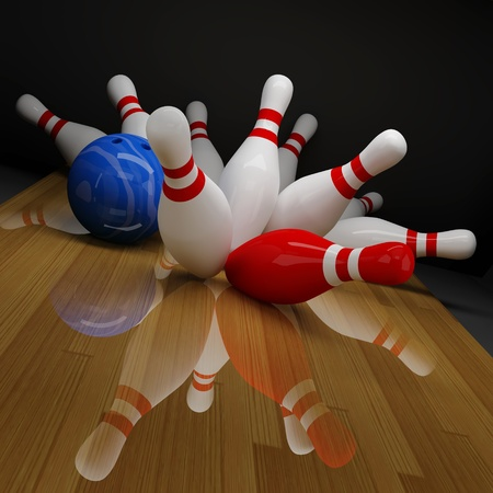 sphere standing: Broken red and white skittles in bowling Stock Photo