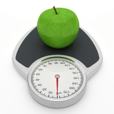 kilograms: Scales and apple - symbolize the diet as a way to lose weight.