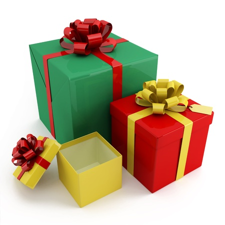 Colourful boxes for gifts on a white background photo