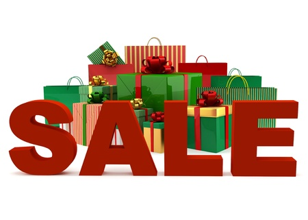 Christmas bags and boxes with a word Sale on white background photo