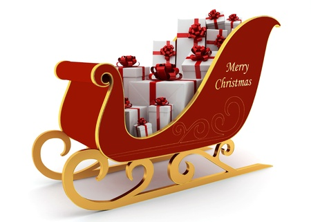 christmas sleigh: Christmas sleigh with gifts on a white background Stock Photo