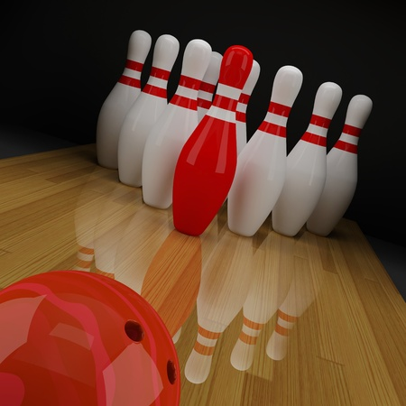sphere standing: Bowling with a red skittle in the center
