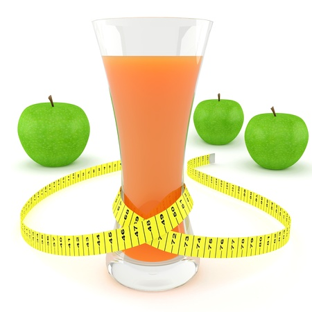 Glass of juice, apples and measuring tape on white background
