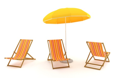 Colored deck chairs and umbrella on a white background