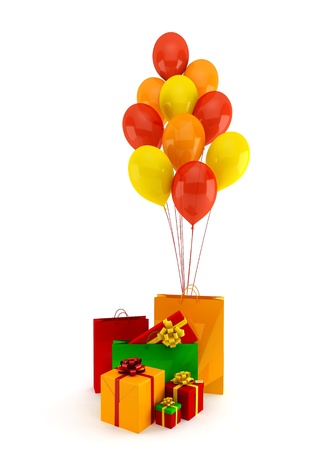 Colorful gifts and balloons on a white background Stock Photo