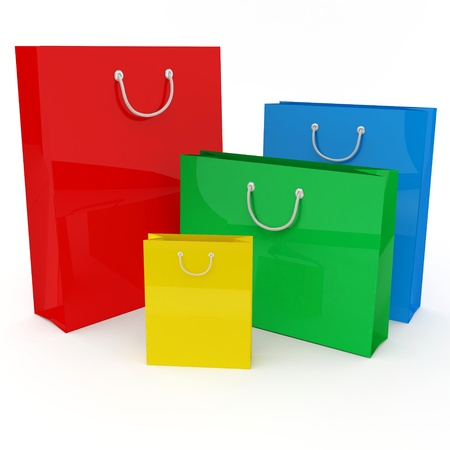 color separation: Four colored bags on a white background