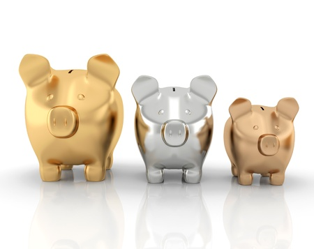 small group of objects: Schedule of savings made up of piggy banks  Stock Photo