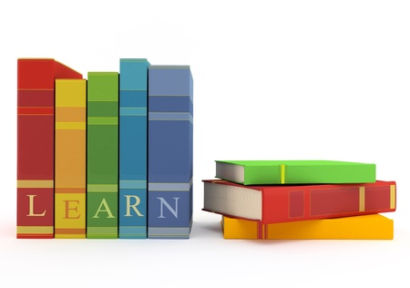 Colorful books for learning on a white background