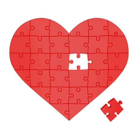 heart puzzle: Red heart made of puzzles on a white background Stock Photo