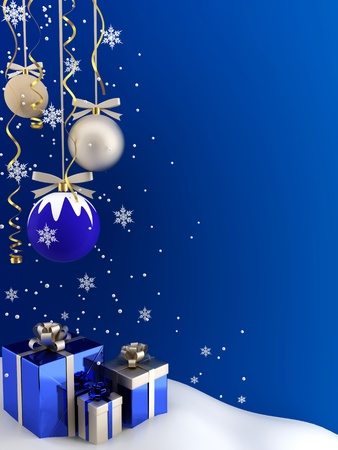 big and small: Postcard - Christmas baubles and gifts on a blue background. Stock Photo