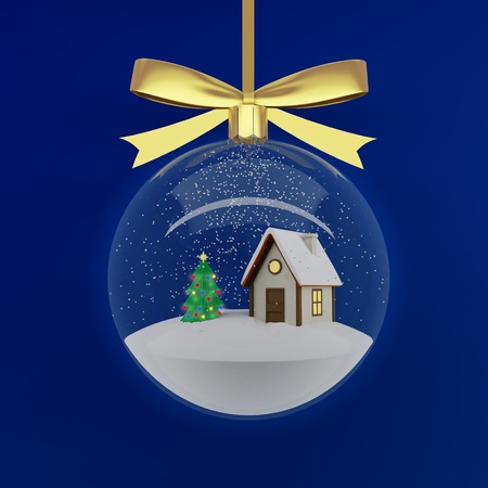 Christmas Decorations - snow sphere on a blue background photo