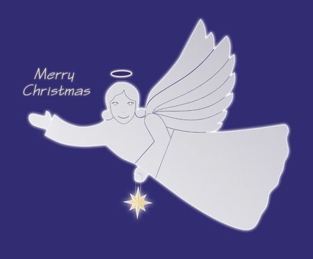 angel silhouette: Christmas angel with a dark blue background. Postcard. Stock Photo