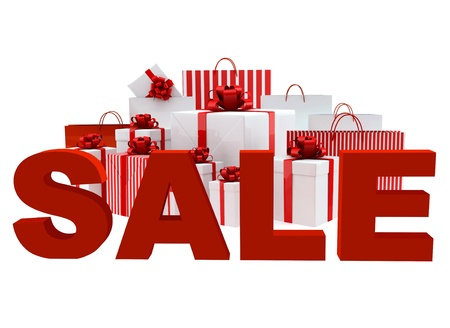 Bags and boxes with a word Sale on white background photo
