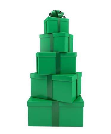 Heap of gifts of green color on a white background