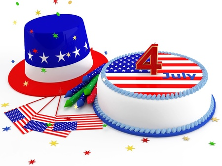 Decorations for Independence Day on a white background Stock Photo