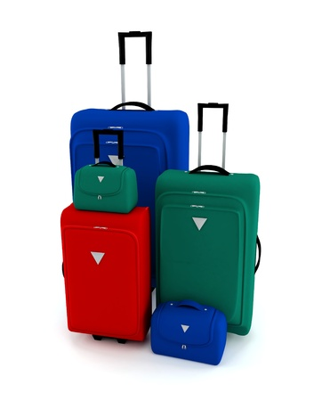 small group of objects: Colorful suitcases and bags on a white background