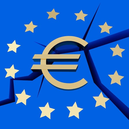 Symbolizes - European Debt Crisis  on a blue background.