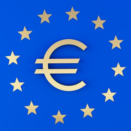 Euro sign and the stars on a blue background