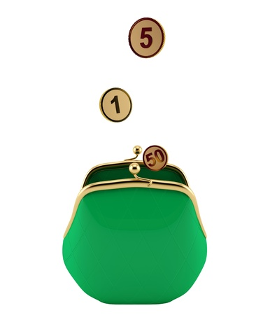 Green purse with coins on a white background