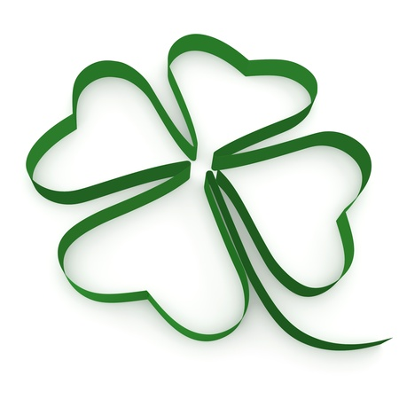 march: Ribbon folded in the form of leaf clover on a white background.