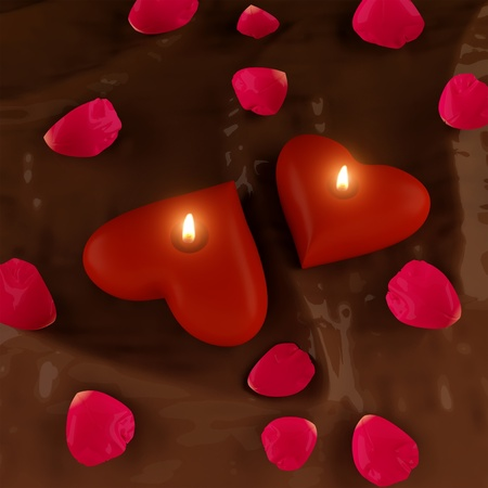 1. Candles in the shape of hearts and chocolate   Stock Photo