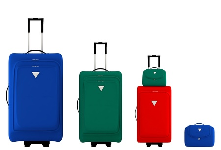 Colorful suitcases and bags on a white background