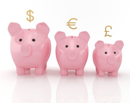 Schedule of savings made up of piggy banks  Stock Photo
