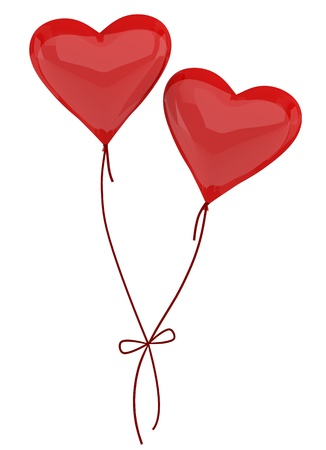 Two balloons in the form of heart on a white background photo