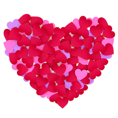 Heart made of color paper hearts on a white background. Stock Photo