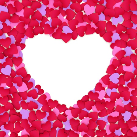 Frame from color paper hearts on a white background.