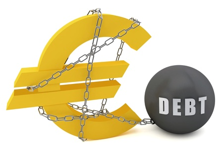 burden: Euro sign connected in a chain of debt on a white  background Stock Photo