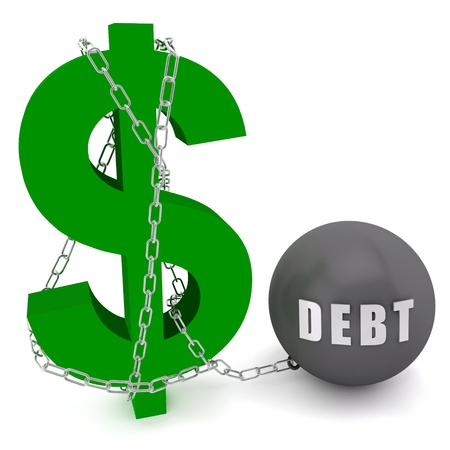 economic depression: Dollar sign connected in a chain of debt on a white  background Stock Photo