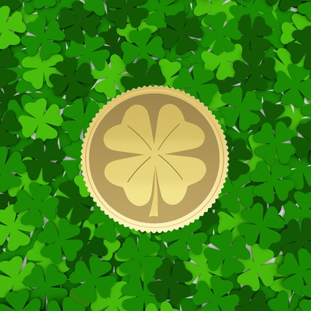 four pattern: Background made from green leaves with a coin - a symbol of spring.