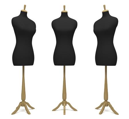 Mannequins de tailleurs dans une position différente sur un fond blanc