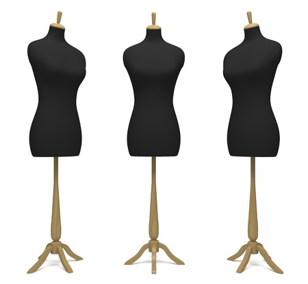 Tailors' dummies in a different position on a white background photo