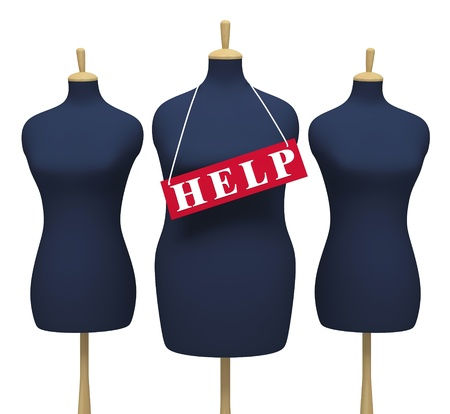 Tailors dummies - symbolize the extra weight on a white background