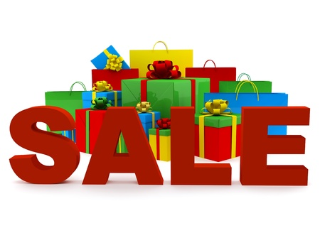 Bags and boxes with a word Sale on white background
