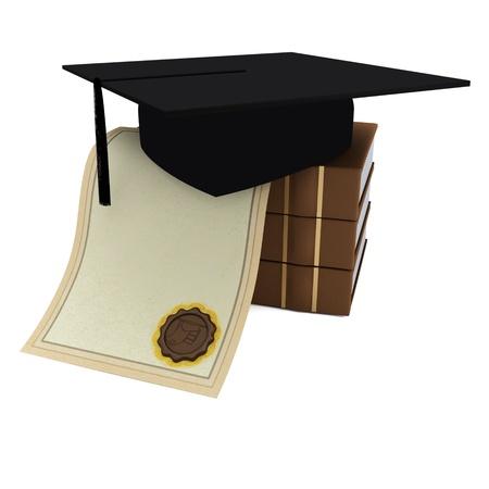 Books, diploma, graduate cap on a white background